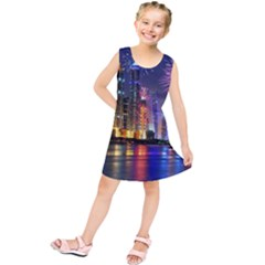 Dubai City At Night Christmas Holidays Fireworks In The Sky Skyscrapers United Arab Emirates Kids  Tunic Dress