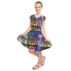 Dubai City At Night Christmas Holidays Fireworks In The Sky Skyscrapers United Arab Emirates Kids  Short Sleeve Dress