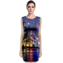 Dubai City At Night Christmas Holidays Fireworks In The Sky Skyscrapers United Arab Emirates Sleeveless Velvet Midi Dress