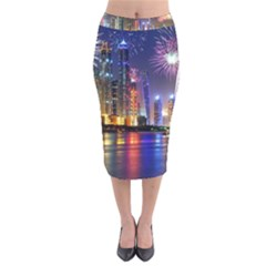 Dubai City At Night Christmas Holidays Fireworks In The Sky Skyscrapers United Arab Emirates Velvet Midi Pencil Skirt