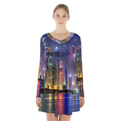 Dubai City At Night Christmas Holidays Fireworks In The Sky Skyscrapers United Arab Emirates Long Sleeve Velvet V Neck Dress