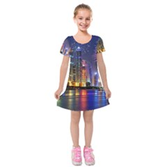 Dubai City At Night Christmas Holidays Fireworks In The Sky Skyscrapers United Arab Emirates Kids  Short Sleeve Velvet Dress