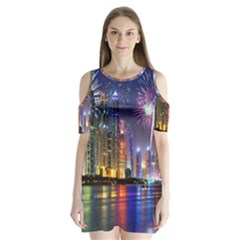 Dubai City At Night Christmas Holidays Fireworks In The Sky Skyscrapers United Arab Emirates Shoulder Cutout Velvet  One Piece
