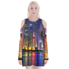 Dubai City At Night Christmas Holidays Fireworks In The Sky Skyscrapers United Arab Emirates Velvet Long Sleeve Shoulder Cutout Dress