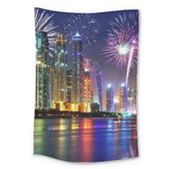 Dubai City At Night Christmas Holidays Fireworks In The Sky Skyscrapers United Arab Emirates Large Tapestry