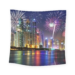 Dubai City At Night Christmas Holidays Fireworks In The Sky Skyscrapers United Arab Emirates Square Tapestry (Small)