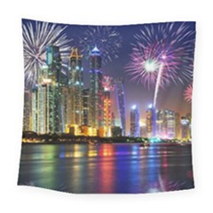 Dubai City At Night Christmas Holidays Fireworks In The Sky Skyscrapers United Arab Emirates Square Tapestry (large)