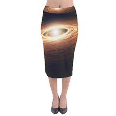 Erupting Star Velvet Midi Pencil Skirt
