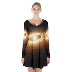 Erupting Star Long Sleeve Velvet V Neck Dress