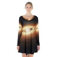 Erupting Star Long Sleeve Velvet V Neck Dress