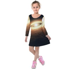 Erupting Star Kids  Long Sleeve Velvet Dress
