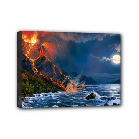 Eruption Of Volcano Sea Full Moon Fantasy Art Mini Canvas 7  X 5