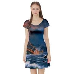 Eruption Of Volcano Sea Full Moon Fantasy Art Short Sleeve Skater Dress