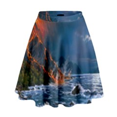 Eruption Of Volcano Sea Full Moon Fantasy Art High Waist Skirt