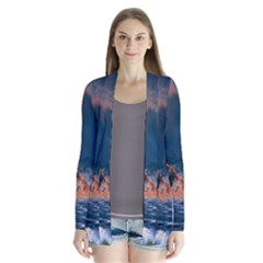 Eruption Of Volcano Sea Full Moon Fantasy Art Cardigans