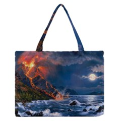 Eruption Of Volcano Sea Full Moon Fantasy Art Medium Zipper Tote Bag