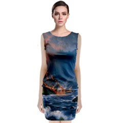 Eruption Of Volcano Sea Full Moon Fantasy Art Sleeveless Velvet Midi Dress