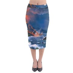 Eruption Of Volcano Sea Full Moon Fantasy Art Velvet Midi Pencil Skirt