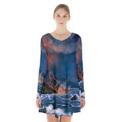 Eruption Of Volcano Sea Full Moon Fantasy Art Long Sleeve Velvet V Neck Dress
