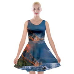 Eruption Of Volcano Sea Full Moon Fantasy Art Velvet Skater Dress