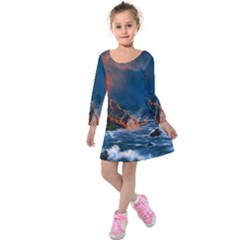 Eruption Of Volcano Sea Full Moon Fantasy Art Kids  Long Sleeve Velvet Dress