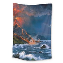 Eruption Of Volcano Sea Full Moon Fantasy Art Large Tapestry