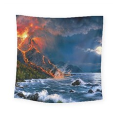Eruption Of Volcano Sea Full Moon Fantasy Art Square Tapestry (small)
