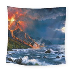 Eruption Of Volcano Sea Full Moon Fantasy Art Square Tapestry (large)