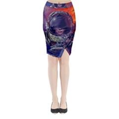 Eve Of Destruction Cgi 3d Sci Fi Space Midi Wrap Pencil Skirt