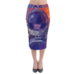 Eve Of Destruction Cgi 3d Sci Fi Space Velvet Midi Pencil Skirt