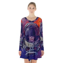 Eve Of Destruction Cgi 3d Sci Fi Space Long Sleeve Velvet V Neck Dress
