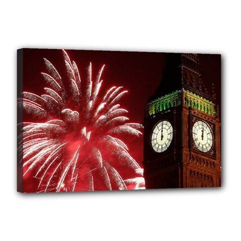 Fireworks Explode Behind The Houses Of Parliament And Big Ben On The River Thames During New Year's Canvas 18  X 12