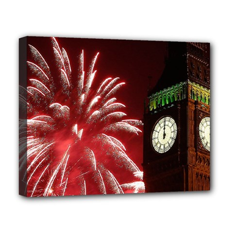 Fireworks Explode Behind The Houses Of Parliament And Big Ben On The River Thames During New Year's Deluxe Canvas 20  X 16