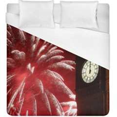 Fireworks Explode Behind The Houses Of Parliament And Big Ben On The River Thames During New Year's Duvet Cover (king Size)