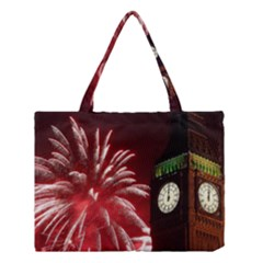 Fireworks Explode Behind The Houses Of Parliament And Big Ben On The River Thames During New Year's Medium Tote Bag