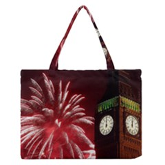 Fireworks Explode Behind The Houses Of Parliament And Big Ben On The River Thames During New Year's Medium Zipper Tote Bag