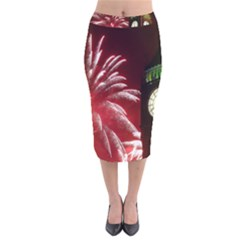 Fireworks Explode Behind The Houses Of Parliament And Big Ben On The River Thames During New Year's Velvet Midi Pencil Skirt