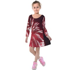 Fireworks Explode Behind The Houses Of Parliament And Big Ben On The River Thames During New Year's Kids  Long Sleeve Velvet Dress