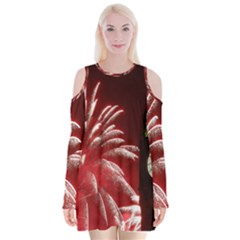 Fireworks Explode Behind The Houses Of Parliament And Big Ben On The River Thames During New Year's Velvet Long Sleeve Shoulder Cutout Dress