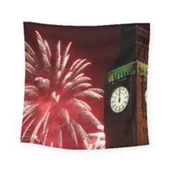 Fireworks Explode Behind The Houses Of Parliament And Big Ben On The River Thames During New Year's Square Tapestry (small)