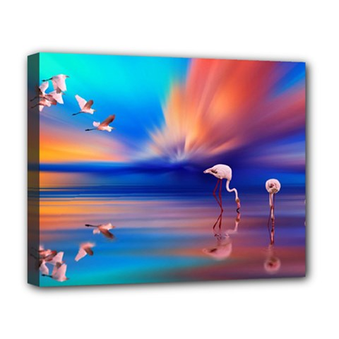 Flamingo Lake Birds In Flight Sunset Orange Sky Red Clouds Reflection In Lake Water Art Deluxe Canvas 20  X 16