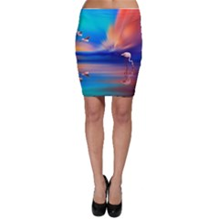 Flamingo Lake Birds In Flight Sunset Orange Sky Red Clouds Reflection In Lake Water Art Bodycon Skirt