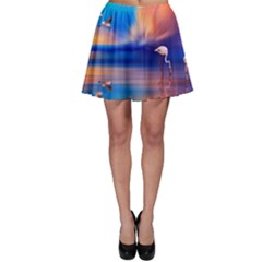 Flamingo Lake Birds In Flight Sunset Orange Sky Red Clouds Reflection In Lake Water Art Skater Skirt