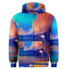 Flamingo Lake Birds In Flight Sunset Orange Sky Red Clouds Reflection In Lake Water Art Men s Zipper Hoodie