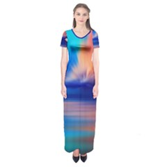 Flamingo Lake Birds In Flight Sunset Orange Sky Red Clouds Reflection In Lake Water Art Short Sleeve Maxi Dress