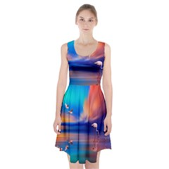 Flamingo Lake Birds In Flight Sunset Orange Sky Red Clouds Reflection In Lake Water Art Racerback Midi Dress