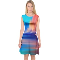 Flamingo Lake Birds In Flight Sunset Orange Sky Red Clouds Reflection In Lake Water Art Capsleeve Midi Dress
