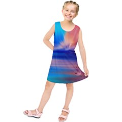 Flamingo Lake Birds In Flight Sunset Orange Sky Red Clouds Reflection In Lake Water Art Kids  Tunic Dress