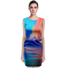 Flamingo Lake Birds In Flight Sunset Orange Sky Red Clouds Reflection In Lake Water Art Sleeveless Velvet Midi Dress