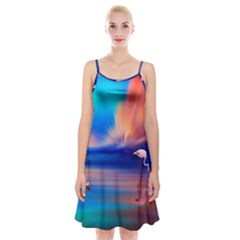 Flamingo Lake Birds In Flight Sunset Orange Sky Red Clouds Reflection In Lake Water Art Spaghetti Strap Velvet Dress